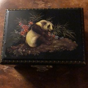 Vintage Asian hand painted jewelry box
